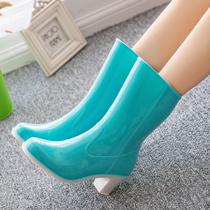 包邮时尚韩版新款中筒高跟防滑女式雨鞋加棉拆卸两用雨靴水鞋胶鞋