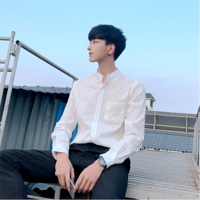 夏春季男士小清新休闲白衬衫男修身条纹立领男装长袖衬衣潮薄款潮