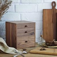 喜起胡桃木实木桌面收纳盒 抽屉式杂物整理箱 木质首饰箱 茶叶箱