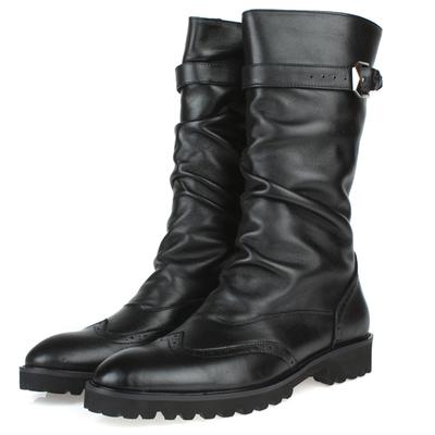 英伦马靴复古高筒皮靴真皮雕花潮流军靴男士靴子发型师男靴子潮v