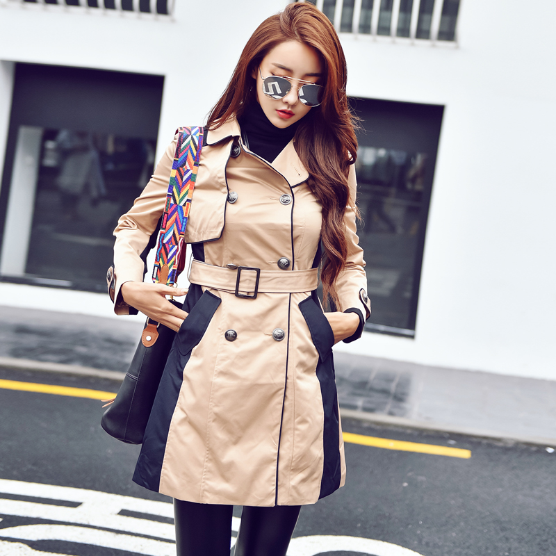 every day specials hit the beige long coat double-breasted belt coat ladies