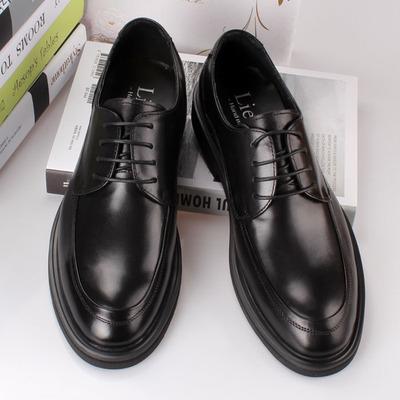 皮鞋男商務正裝真皮大碼青年韓版潮流英倫休閑百搭年輕款黑色男鞋