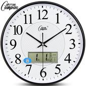 康巴丝挂钟客厅静音钟表办公室简约日历时钟现代时尚挂表石英钟表