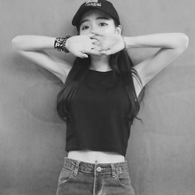 春夏装性感露脐紧身小背心外穿无袖高腰短款修身t恤黑色打底衫女