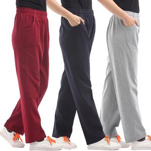 春秋中老年女士运动裤纯棉高腰休闲裤大码针织卫裤直筒裤奶奶裤厚
