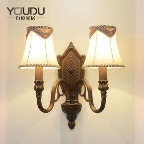 美式简约全铜壁灯 欧式布艺客厅墙壁卧室床头书房过道双头壁灯