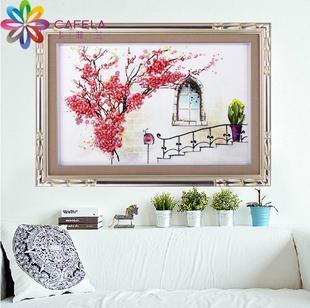 卡菲兰丝带绣新款客厅风景花草挂画粉色心情3d彩印立体十字绣