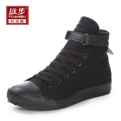 春季纯黑色高帮帆布鞋运动球鞋男鞋子韩版女鞋情侣学生休闲鞋板鞋