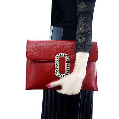 爵士兰盾真皮手拿包女2018新款女手包女包欧美时尚手腕斜挎小包包