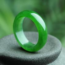 花青色满绿翡翠指环男女款辣绿尾戒扳指货祖母绿翡翠飘花戒指A