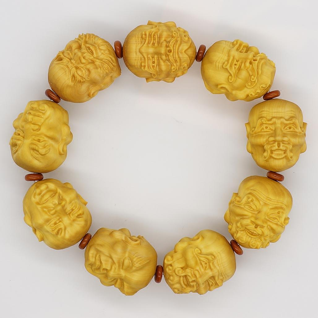 高山黄杨木雕手串 须派双面十八罗汉原木加工橄榄核雕隔片吊挂饰