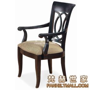 欧式餐椅实木带扶手休闲椅餐厅接待椅镂空早餐椅布艺餐椅书椅主人