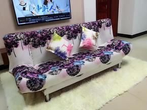 韩式田园简约现代小户型单人双人折叠布艺沙发床 租房两用免拆洗