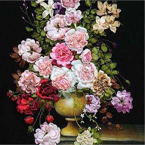 丝带绣挂画新款客厅欧式油画花卉印花十字绣小幅现代简约卧室餐厅