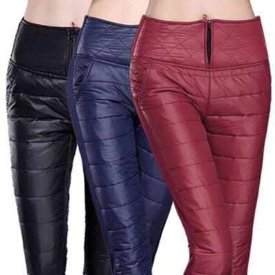冬款女士羽绒棉裤外穿轻薄高腰保暖紧身裤加厚加肥加大码显瘦长裤