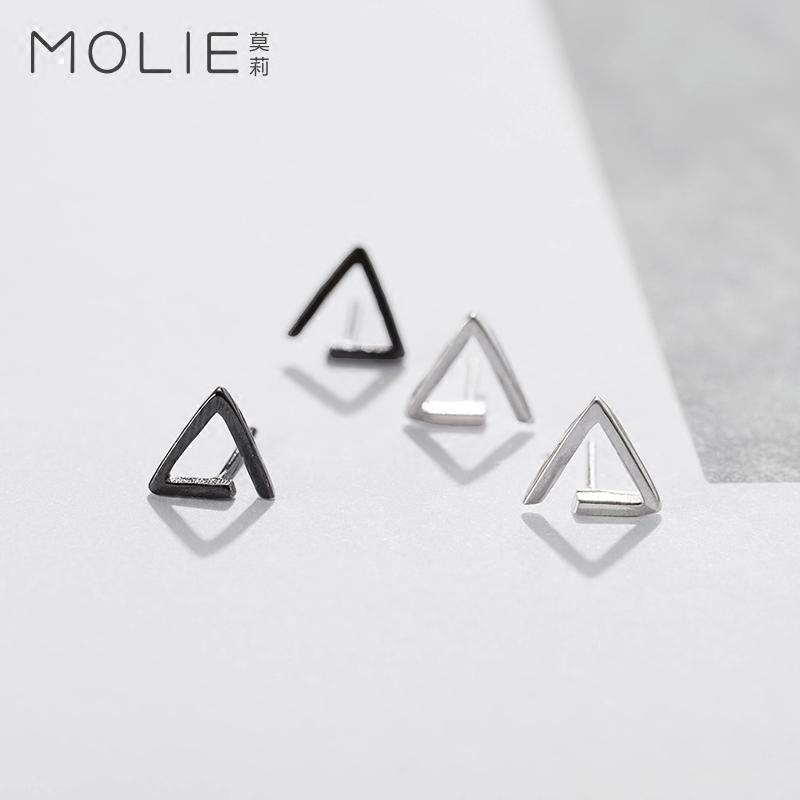 莫莉925银耳钉女简约百搭耳坠例外耳饰手工配饰品气质韩国耳环