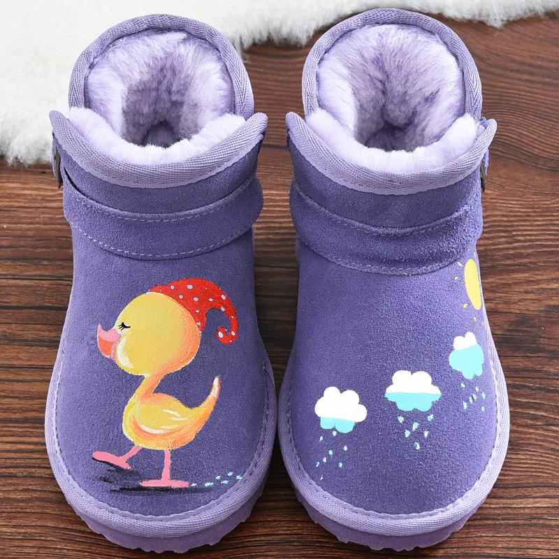 儿童手绘雪地靴女