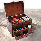 Wooden Needle Box Desktop Receiving Box Large Wooden Box Drawer Type Household Covered Dressing Table
