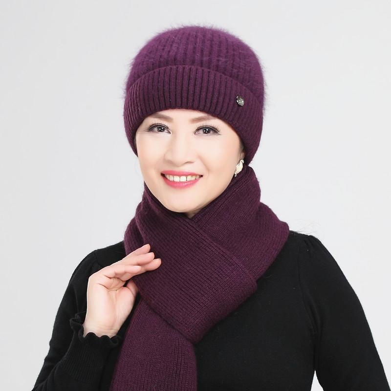 中老年帽子女针织毛线帽秋冬妈妈帽围巾两件套冬季兔毛老人保暖帽