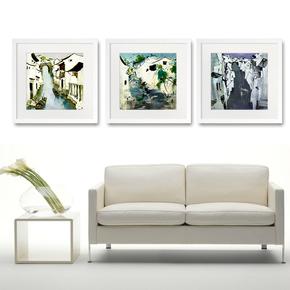 客厅挂画吴冠中墙上油画三联画名家室内装饰画酒店现代家居新中式