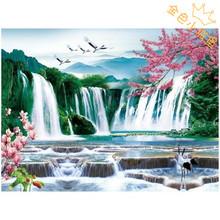 高清3D立体画PET三维画现代装饰画大量批发30*40山水瀑布风景画