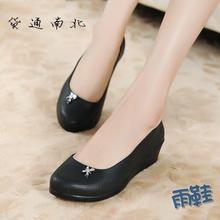 夏季新款女士大码雨靴防水雨鞋防滑高跟厚底水靴坡跟黑色工作胶鞋