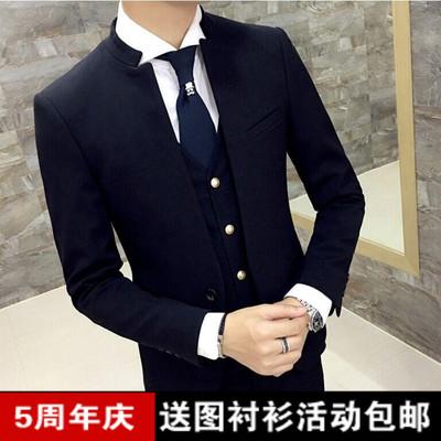 春夏装新款修身立领西服套装男发型师青年夜店伴郎中山西装三件套