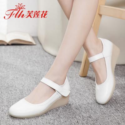 芙莲花夏季护士鞋白色女妈妈鞋坡跟防滑牛筋底透气平底浅口单鞋