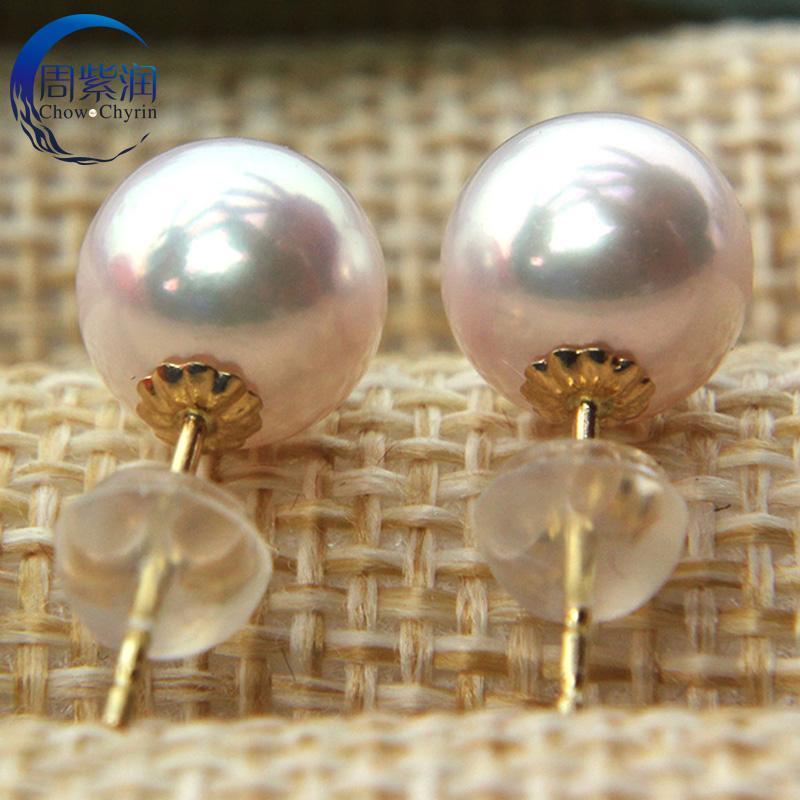 日本akoya珍珠耳钉天然海水珍珠耳环女纯银18K黄金正圆形天女花珠