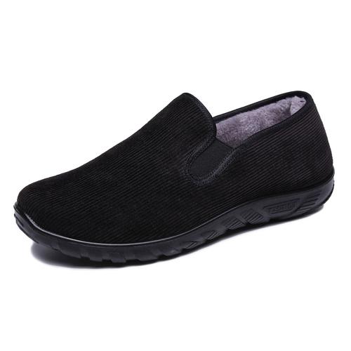 秋冬季老北京布鞋男款二棉鞋加绒保暖黑色中老年人工作男棉爸爸鞋