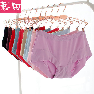 彩田内裤女高腰无痕莫代尔平角裤纯色大码棉质裆透气胖mm