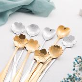 咖啡勺 可爱花型勺子长柄搅拌勺 创意不锈钢小勺 韩版 奶茶调羹