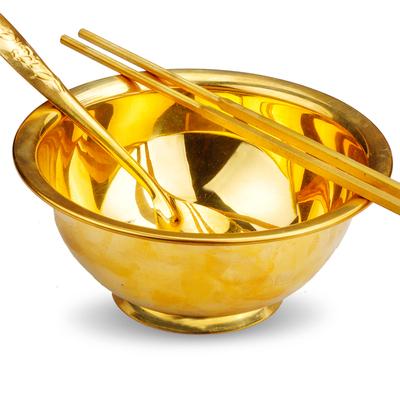 普生缘 铜餐具铜碗铜筷子铜勺子金碗
