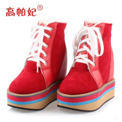 棉靴女冬季韩版坡跟内增高裸靴松糕厚底雪地靴真皮超高跟短靴12cm