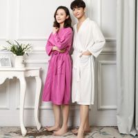Summer thin section waffle couple bathrobe female summer spa bathrobe XL SPA robe male pajamas spring and autumn