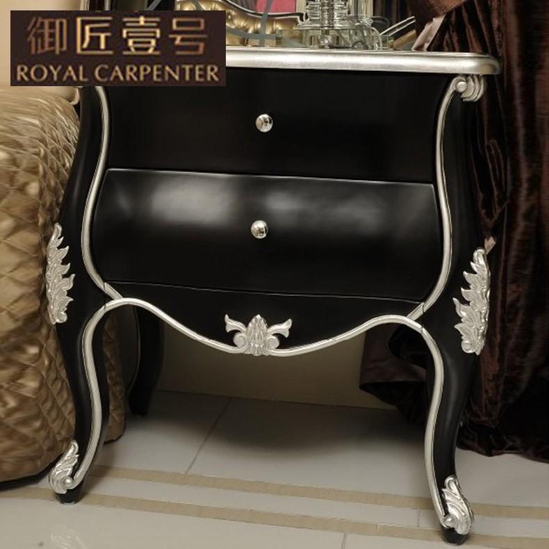 黑色描银床头柜