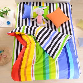 学生宿舍简约三件套纯棉被罩 全棉单人床单被套床上用品1.2米床品