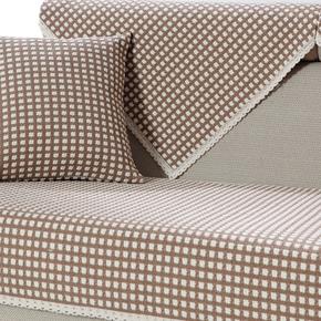 四季通用沙发垫子棉麻布艺简约现代实木三人座位防滑坐垫靠背巾套