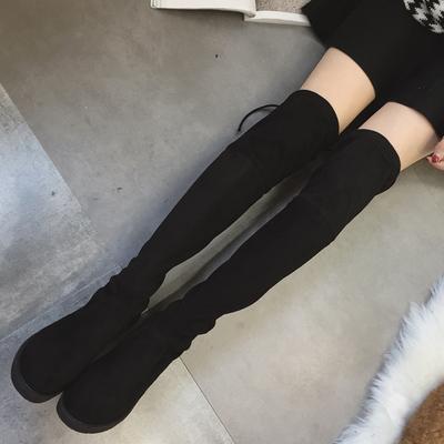 2018秋冬季过膝长靴女平跟弹力靴长筒女靴平底显瘦腿高筒靴子5050