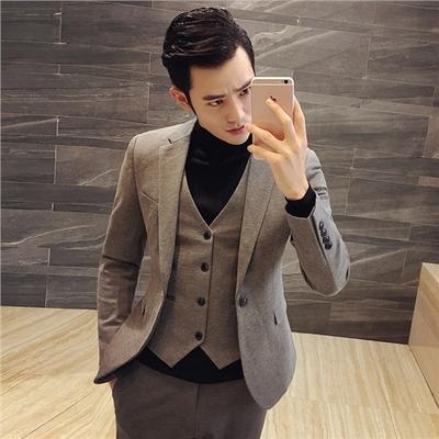 秋冬韩版男士修身西装套装发型师西服三件套结婚礼服小码男装潮流