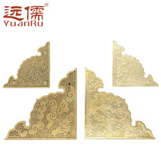Yuanru copper sculpture YRE034 antique brass wrap angle door 樟 wooden box Chinese style decorative piece thickening pure copper corner flower