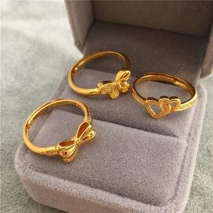 新款包邮越南沙金蝴蝶结戒子女款 24K铜镀金桃心戒指开口久不掉色