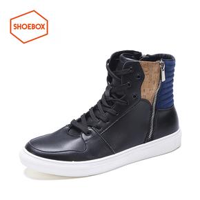 shoebox鞋柜 男鞋OSWIN系带休闲男鞋时尚拼色防水短靴平底高帮鞋
