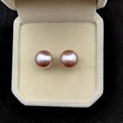 天然淡水珍珠耳钉正品 S925纯银针无瑕紫色10-11MM扁圆馒头耳环
