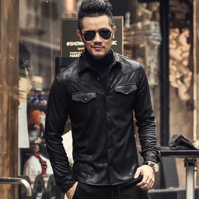 秋装新款时尚男款弹力加绒衬衣 男装黑色长袖衬衫皮衣外套潮S2035