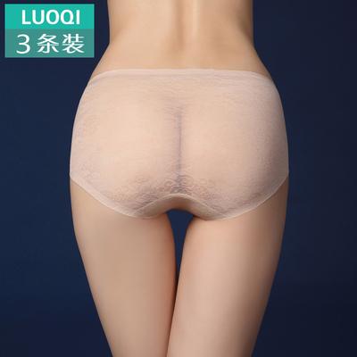 3条装 女士无痕内裤性感全蕾丝中腰三角裤纯棉裆超薄透明 包邮