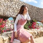 2018春装针织鹿皮绒套装连衣裙粉色小清新修身显瘦背带小香风女