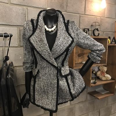 气质灰2019春秋新款女装chic外套女短款夹克修身西装羊毛呢子大衣