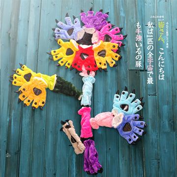 爪子手套搭配法兰绒卡通恐龙连体睡衣动物男女可爱情侣装秋冬季