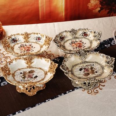 创意客厅奢华欧式果盘家用婚庆树脂茶几组合套装多功能家居摆件